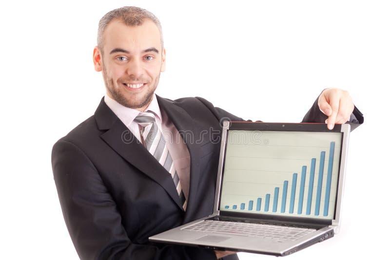 peka för man för bärbar dator för affärsgraf arkivbild