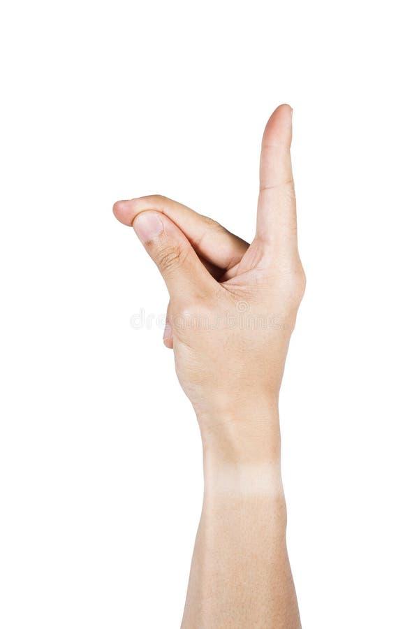 Peka handen med klämmande isolerat på vit arkivfoton