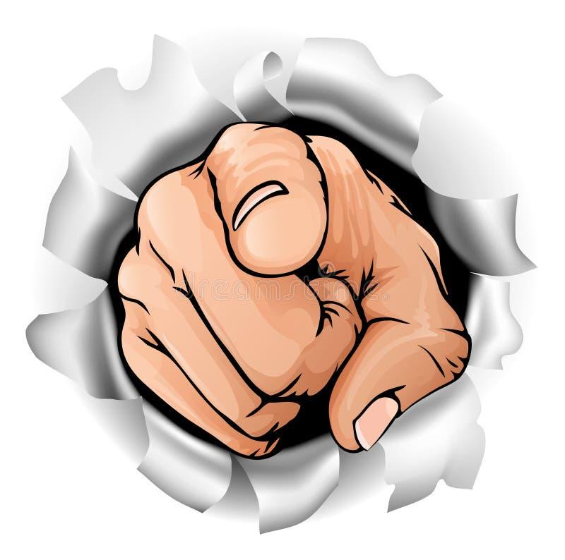 Peka handen som bryter väggen vektor illustrationer
