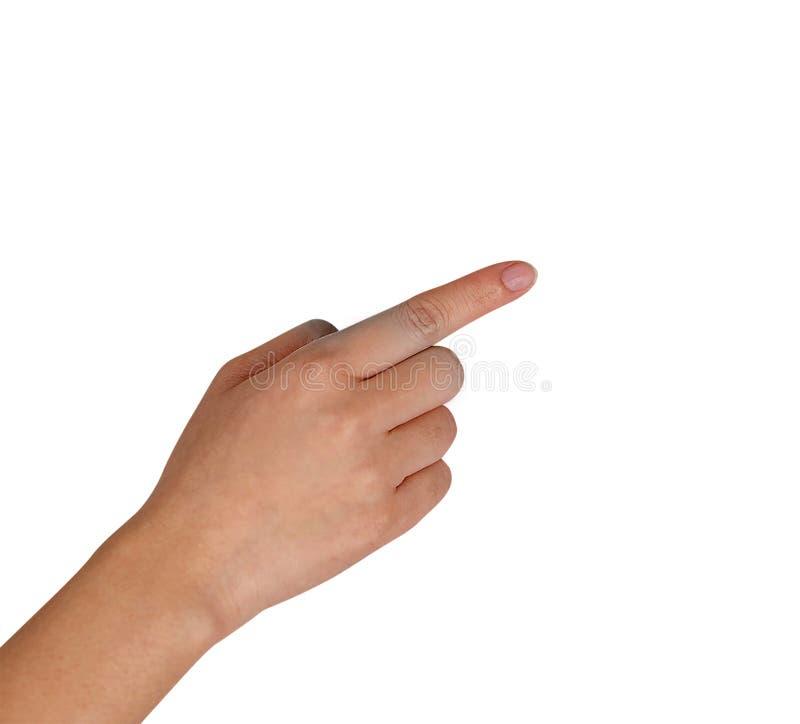 Peka handen som isoleras på vit arkivbild
