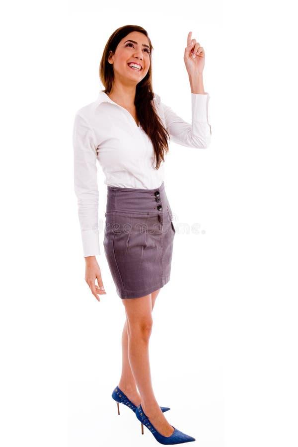 peka plattform upp kvinnan royaltyfri bild