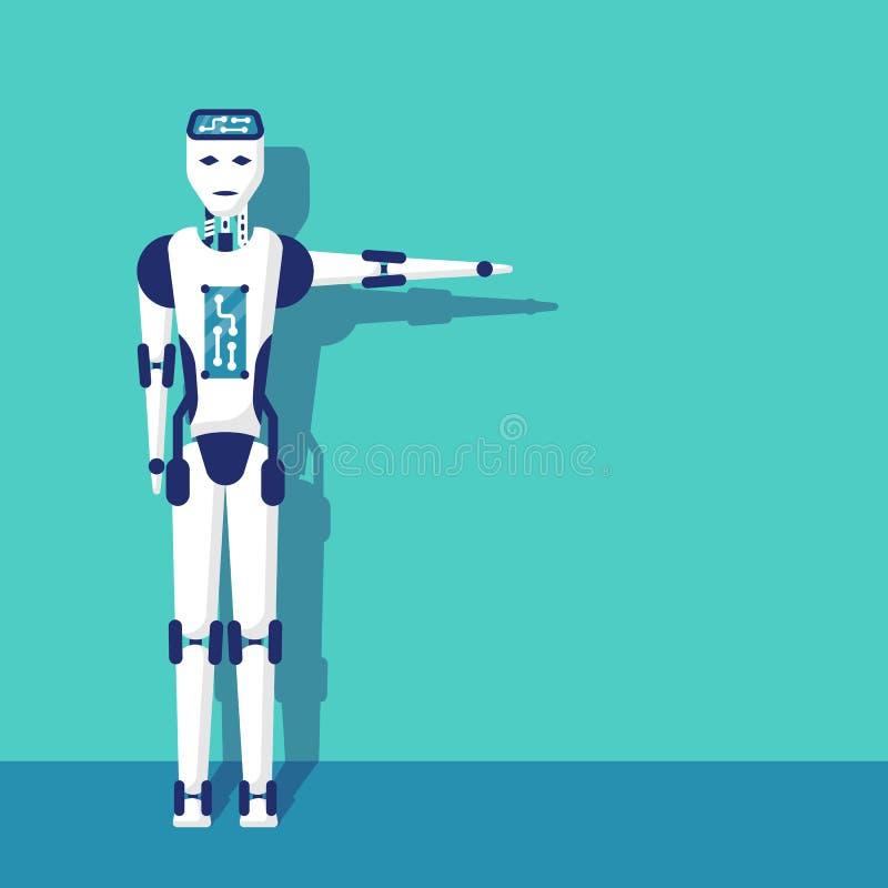 Peka riktning för robotarm royaltyfri illustrationer