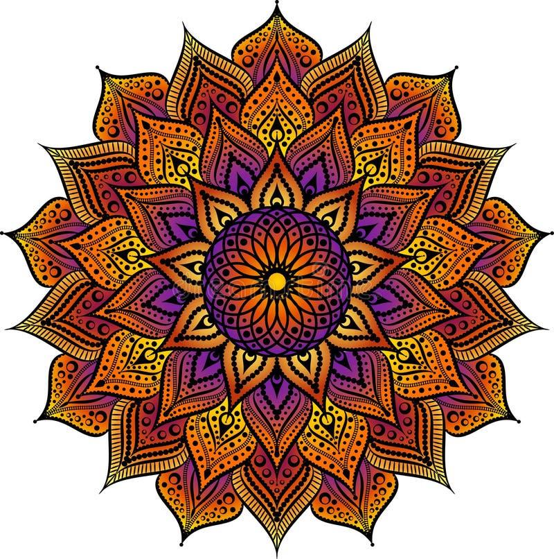 Pekade den geometriska runda prydnaden för mandalaen, stam- etniskt arabiskt indiskt motiv, åtta den abstrakta blom- modellen för royaltyfri illustrationer