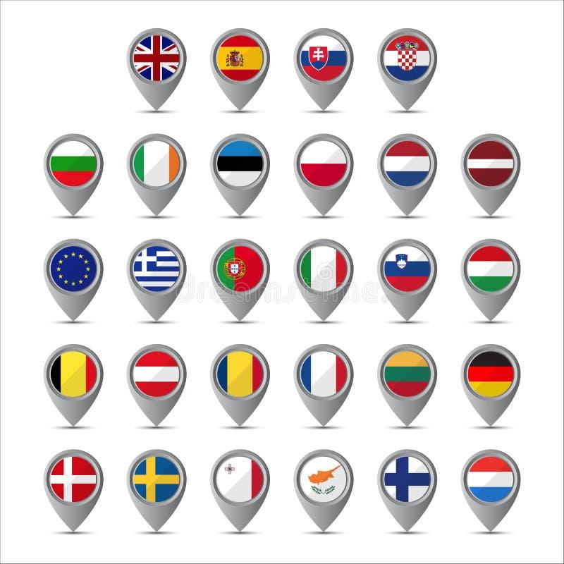 pekare 3D med flaggorna av europeisk union stock illustrationer