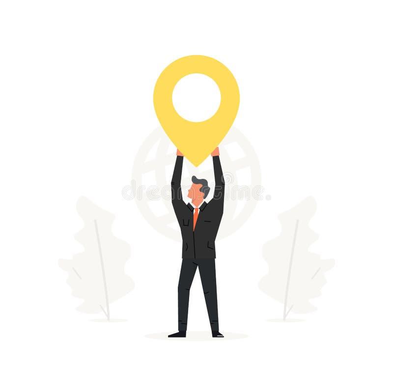 Pekare för affärsmaninnehavöversikt över hans huvud Navigering leverans, design för kontorslägeillustration royaltyfri illustrationer