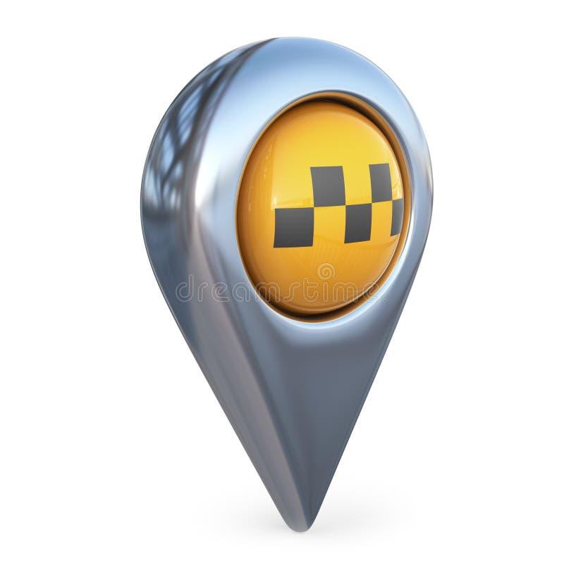 Pekare för taximålöversikt GPS lokaliserar isolerad symbol 3D royaltyfri illustrationer