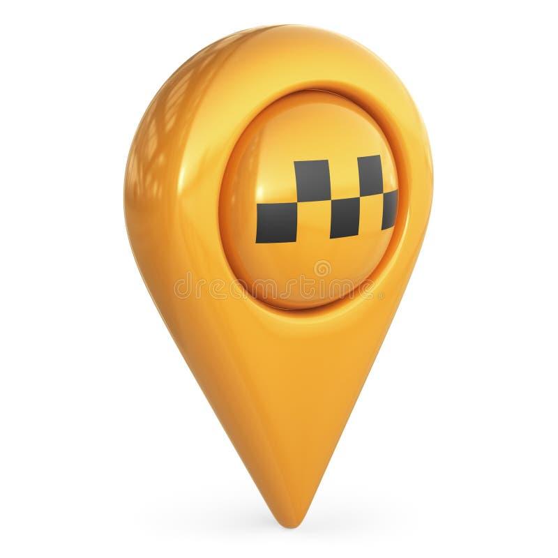 Pekare för taximålöversikt GPS lokaliserar symbol; symbol 3D stock illustrationer