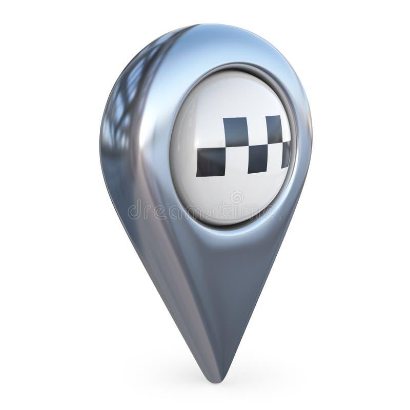 Pekare för taximålöversikt GPS lokaliserar symbol; symbol 3D vektor illustrationer