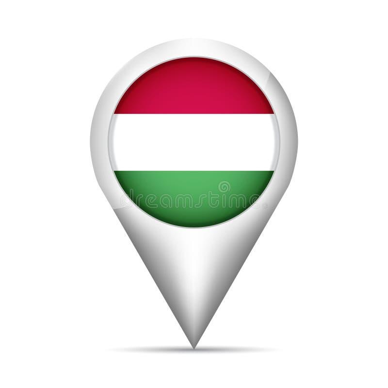 Pekare för Ungernflaggaöversikt med skugga också vektor för coreldrawillustration vektor illustrationer