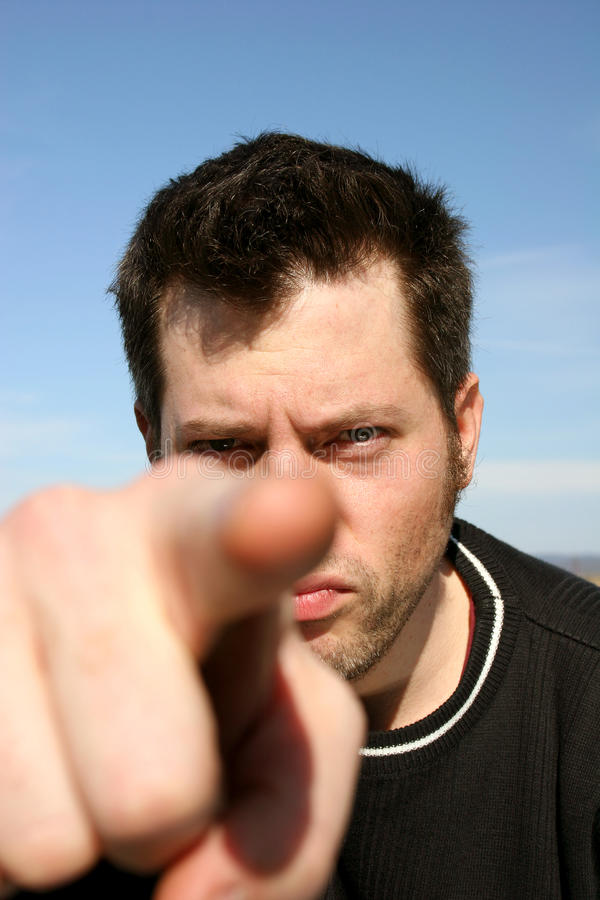 pekfinger hans peka för man royaltyfri fotografi