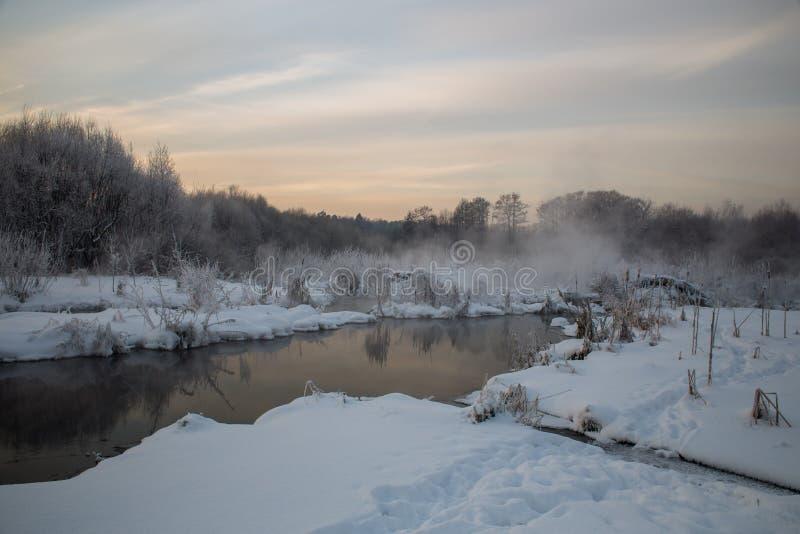 Pekhorka River with hoarfrost on the trees. River Pekhorka in Akatova, frosty winter evening with hoarfrost on the trees, from the warm water stock image