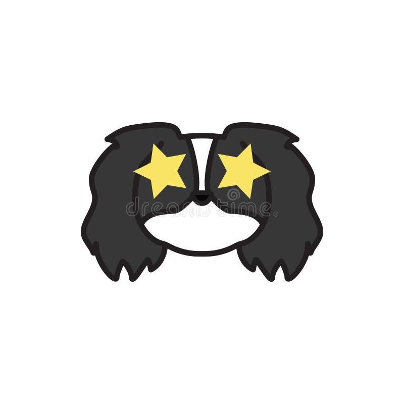 Pekinés, emoji, icono multicolor preferido Las muestras y el icono de los símbolos se pueden utilizar para la web, logotipo, app  libre illustration