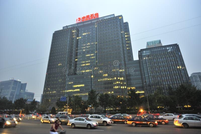 Pekin linia horyzontu i uliczny ruch drogowy Chiny obrazy stock
