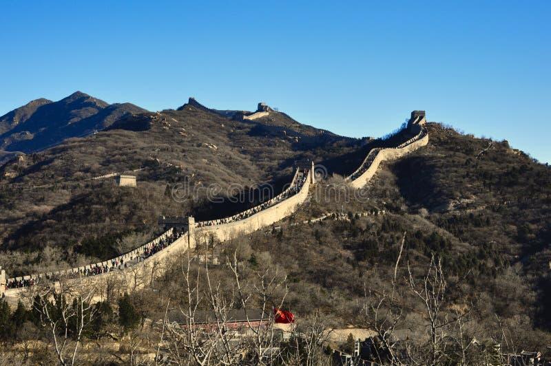 Pekin, Porcelanowy Listopad 18, 2017: Wielki mur Chiny, Badaling zdjęcie royalty free