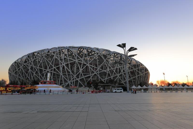 Pekin stadium olimpijski wschód słońca, adobe rgb obrazy royalty free