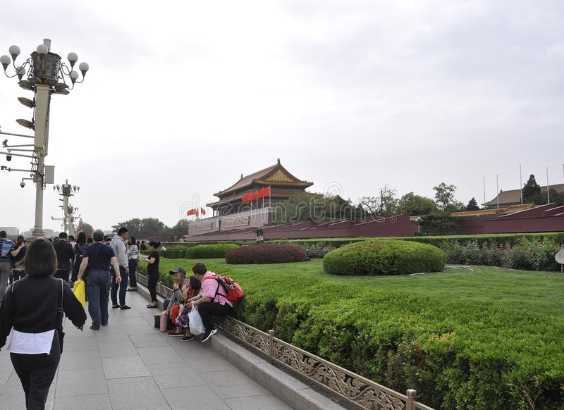 Pekin, 5th może: Widok z bramą Nadziemski pokój na plac tiananmen w Pekin fotografia royalty free