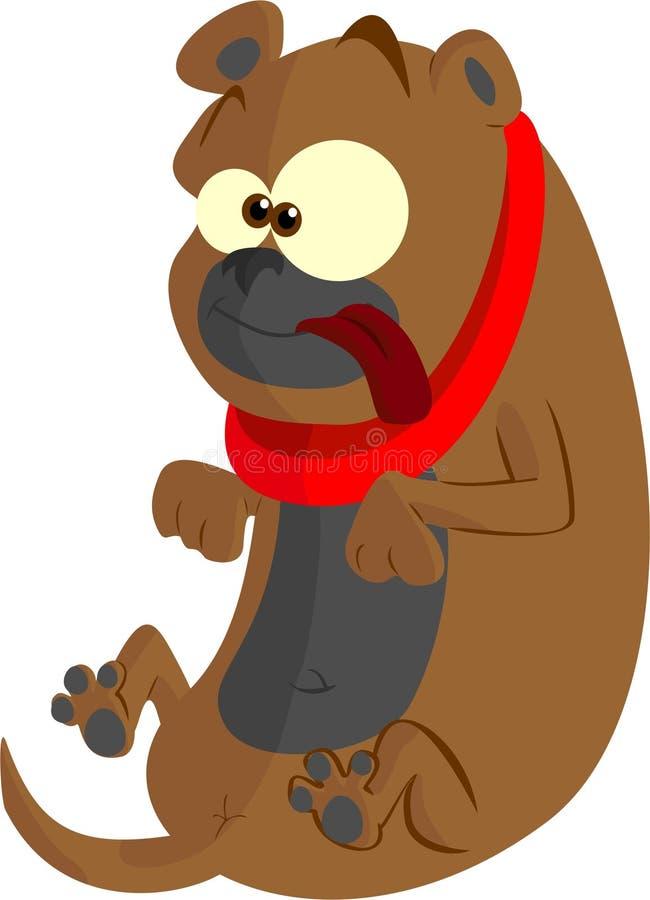 Pekineeshond met rode kraag stock illustratie