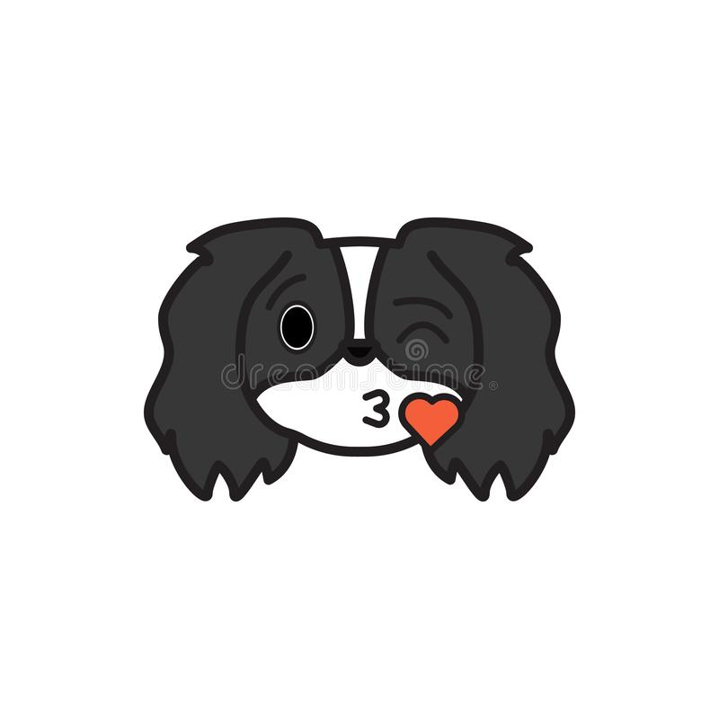Pekinese, emoji, mehrfarbige Ikone des Herzens küssend Zeichen und Symbolikone können für Netz, Logo, mobiler App, UI UX benutzt  lizenzfreie abbildung