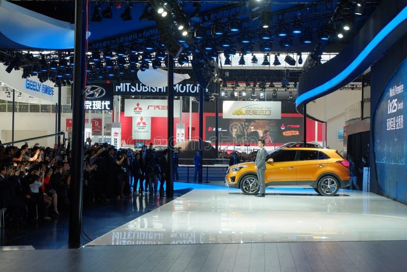 Peking, 20 April, 2014, Hyundai-Motor in de Internationale Automobiele Tentoonstelling van 13de Peking stock foto's