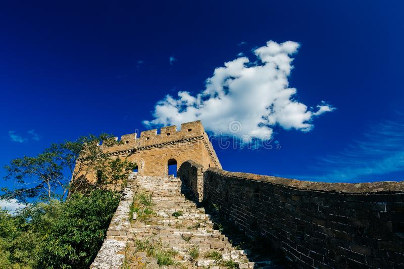 Peking, China - 11 augustus, 2014: Jinshanlings Grote Muur van China royalty-vrije stock fotografie