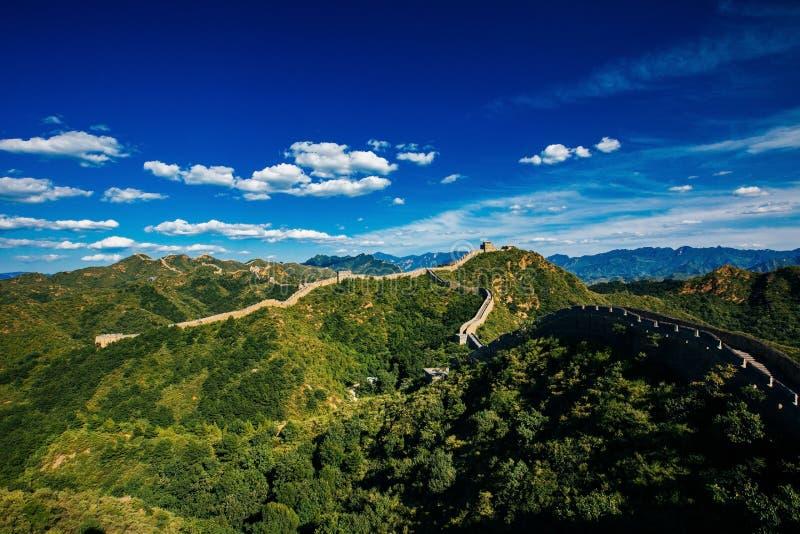 Peking, China - 11 augustus, 2014: Jinshanlings Grote Muur van China stock foto