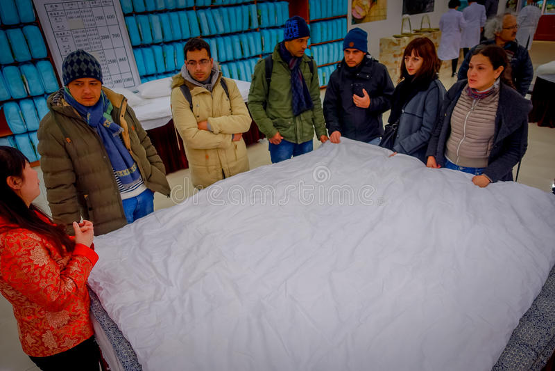 PEKING, CHINA - 29. JANUAR 2017: Silk Besuchsfabrik des traditionellen Chinesen, Arbeitskräfte, die ihre Aufgabenschaffung durchf stockfotografie