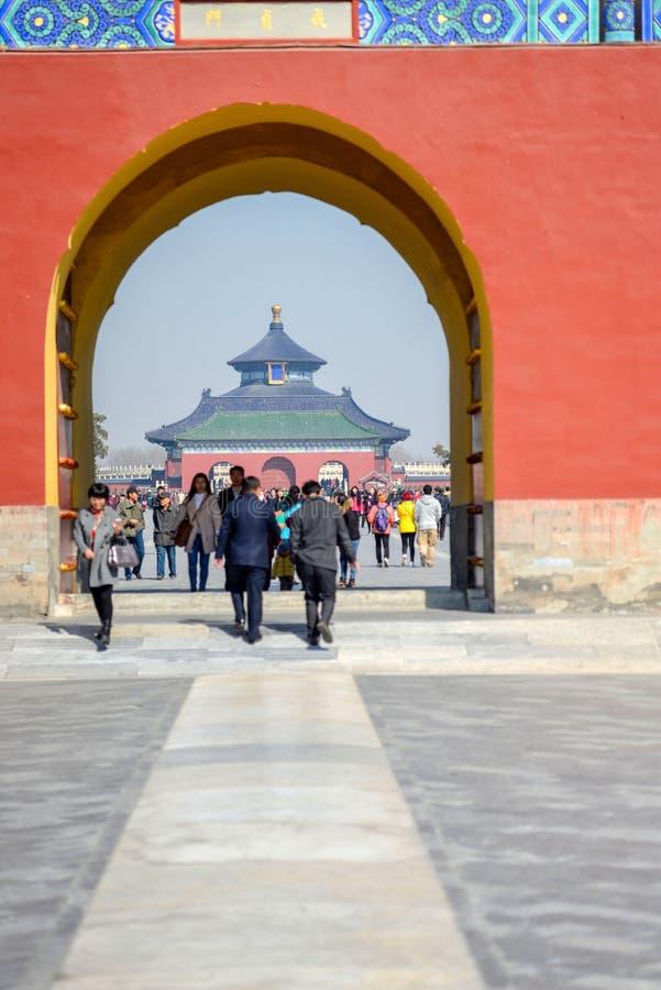 PEKING, CHINA - MAART 14, 2016: Poort van de Zaal van Gebed F stock foto's