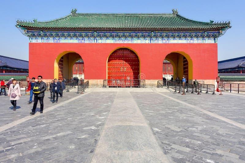 PEKING, CHINA - MAART 14, 2016: Poort van de Zaal van Gebed F stock foto