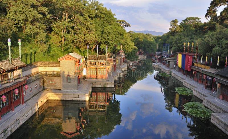 Peking, de zomerPaleis, straat SuZou stock afbeeldingen