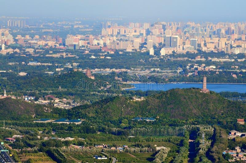 Peking het cityscape-meer van het Paleis van de Zomer stock afbeeldingen
