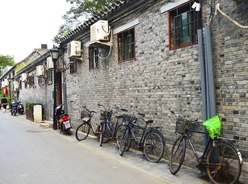 Peking Hutong, de oude woonwijk van Peking stock fotografie