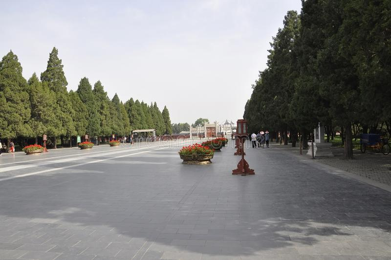 Peking, 7. kann: Langer breiter Gehweg zum Lingxing-Tor von Himmelstempel in Peking stockfotografie