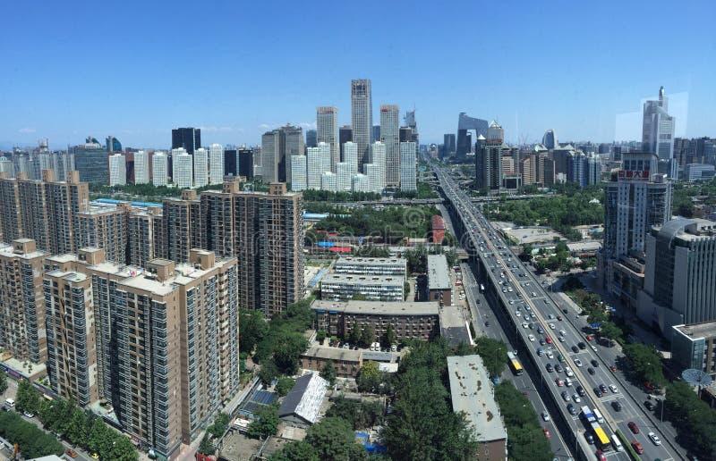 PEKING KINA - CIRCA JUNI 2015, sikten på Beijing' finansiell mitt för s arkivbild