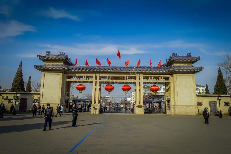 PEKING KINA - 29 JANUARI, 2017: Hänrycka porten till templet av himmelcompund, ett imperialistiskt komplex med olik klosterbroder arkivfoton