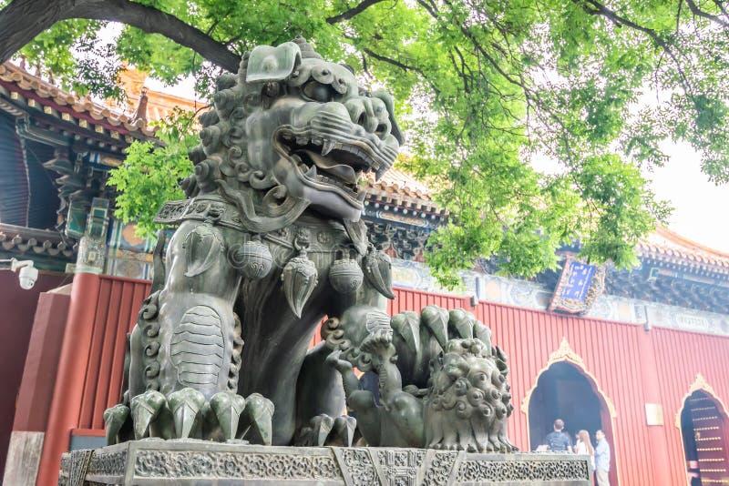 Peking Kina - Maj 20, 2018: Sikt av det stora lejonet och Lama Temple Yonghegong, tempel och kloster av den Gelug skolan arkivfoton