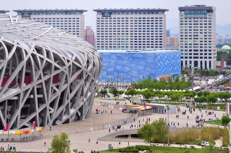 Peking-nationaler Stadion-Vogel-Nest- und Wasserwürfel lizenzfreies stockfoto