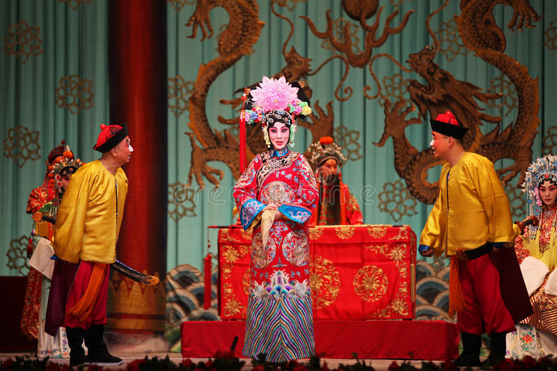 Peking Opera. BEIJING - FEBRUARY 19: Actors of China National Peking Opera Company perform the Peking Opera The Red Haired Galloping Horse at Meilanfang theatre stock image