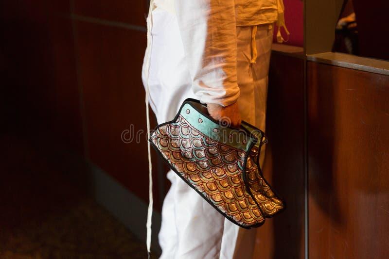 Peking Opera actor`s performance shoes.  royalty free stock image