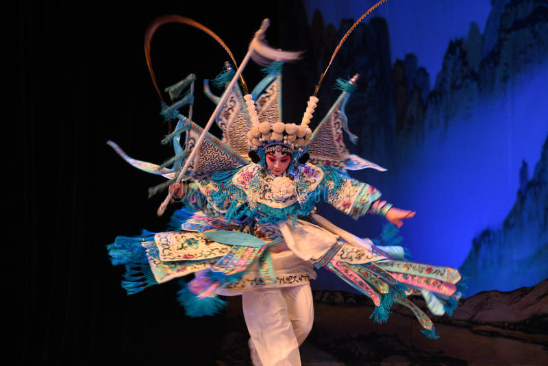 """Peking Opera spin- Beijing Opera"""" Women Generals of Yang Family"""". This opera tells a patriotic story how does an old woman of a hundred years old go royalty free stock image"""