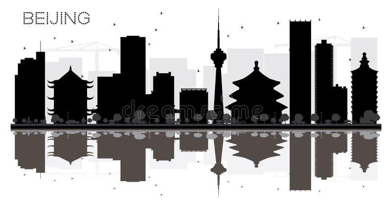 Peking-Stadtskyline-Schwarzweiss-Schattenbild mit Reflexionen stock abbildung