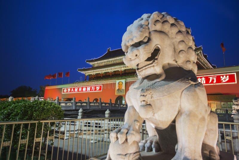 Peking tiananmen vierkant in China stock afbeelding