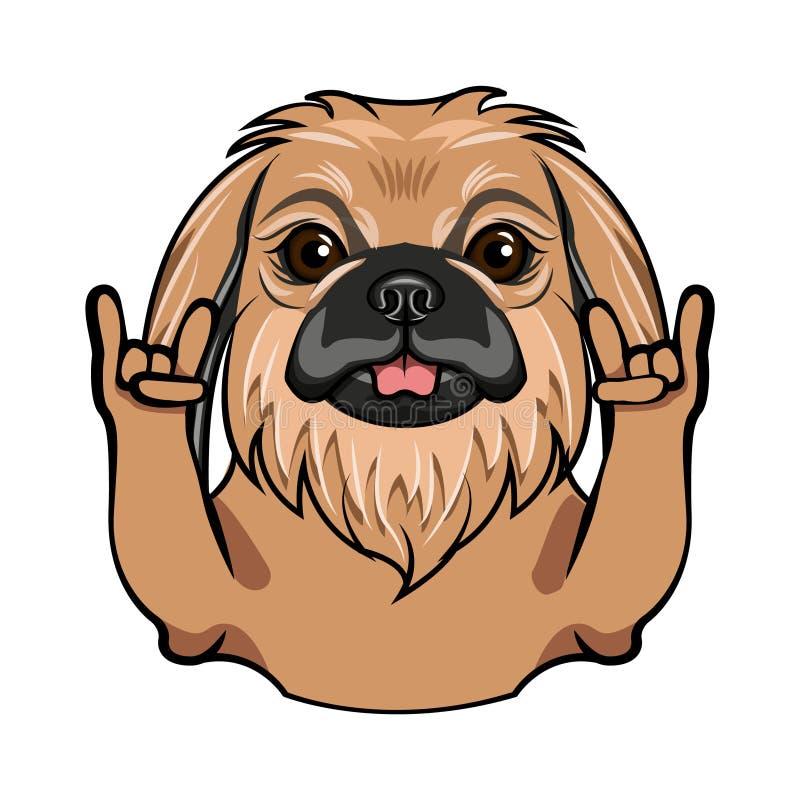 Pekingese dog. Rock gesture. Horns. Dog portrait. Pekingese breed. Vector. stock illustration