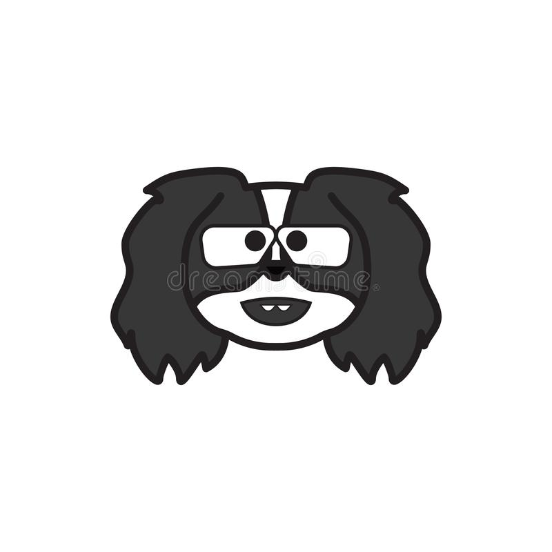 Pekingese, emoji, значок ботаника пестротканый Знаки и значок символов можно использовать для сети, логотипа, мобильного приложен иллюстрация штока