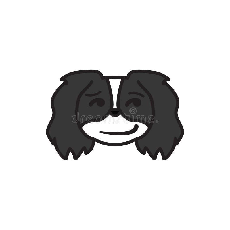 Pekingese, emoji, капризный пестротканый значок Знаки и значок символов можно использовать для сети, логотипа, мобильного приложе бесплатная иллюстрация