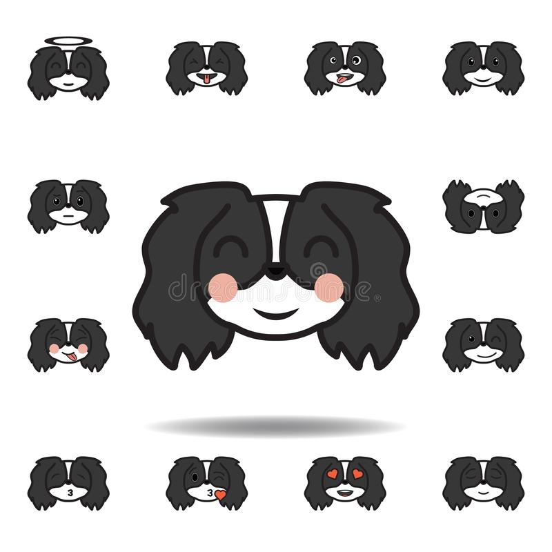 pekingese emoji краснеет пестротканый значок Установите pekingese значков иллюстрации emoji Знаки, символы можно использовать для иллюстрация вектора