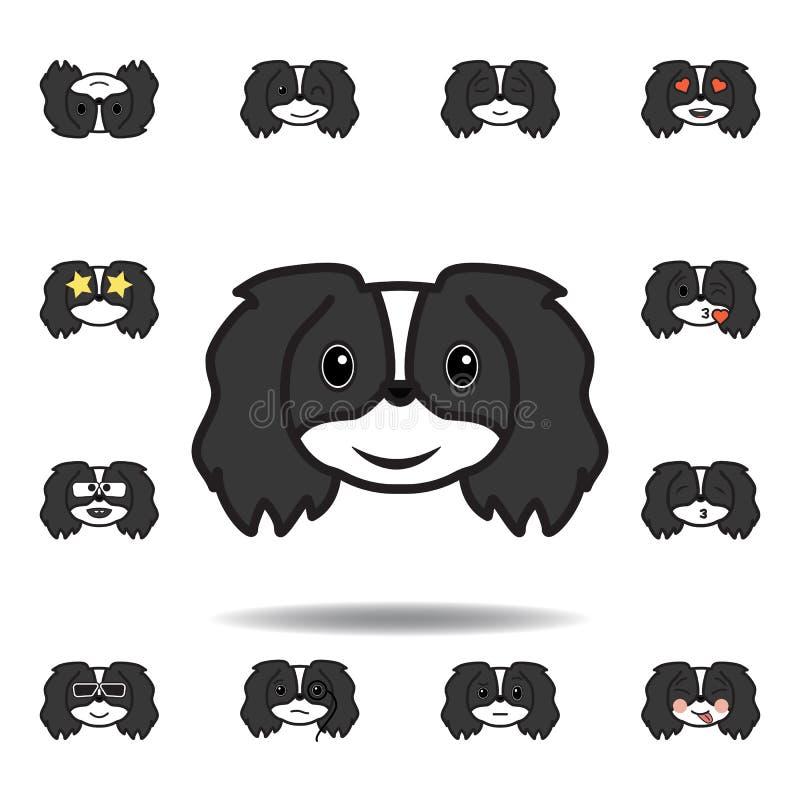 pekingese emoji улыбка немножко смотреть на пестротканый значок Установите pekingese значков иллюстрации emoji Знаки, символы мож иллюстрация вектора