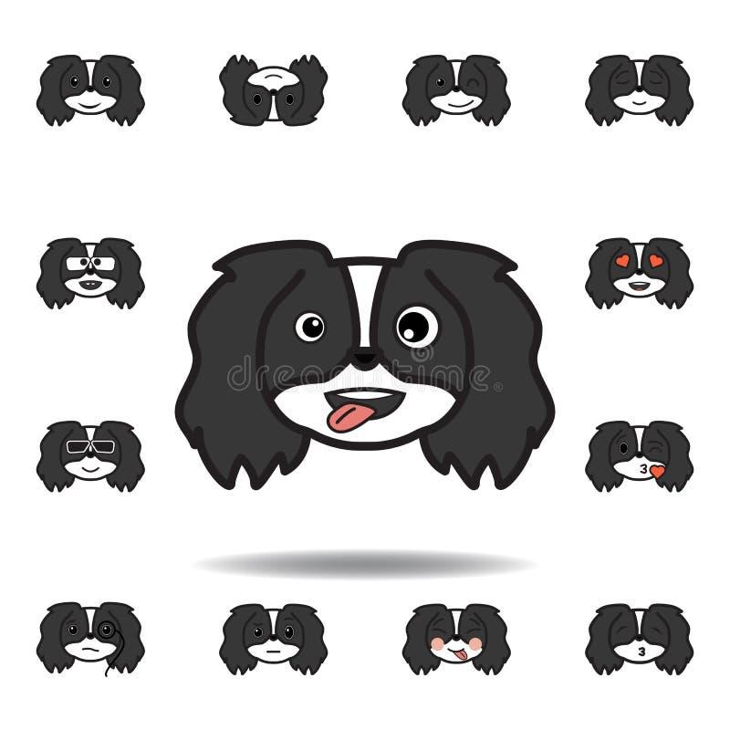 pekingese emoji klibbad ut tunga som blinkar den mångfärgade symbolen för ögon Ställ in av pekingese emojiillustrationsymboler Te vektor illustrationer