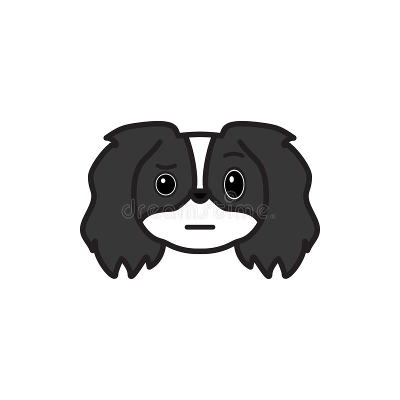 Pekingese, emoji, niepewna stubarwna ikona Znaki i symbol ikona mogą używać dla sieci, logo, mobilny app, UI UX ilustracji