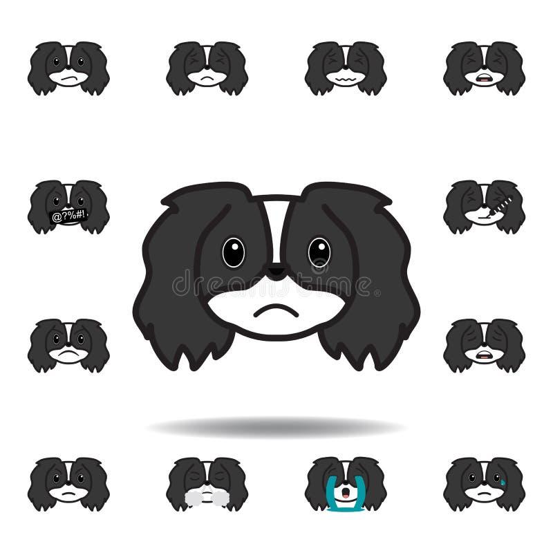pekingese emoji nieszczęśliwa stubarwna ikona Set pekingese emoji ilustracji ikony Znaki, symbole mogą używać dla sieci, logo, ilustracji