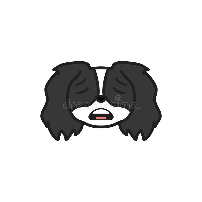 Pekingese, emoji, scared multicolored icon. Signs and symbols icon can be used for web, logo, mobile app, UI UX vector illustration